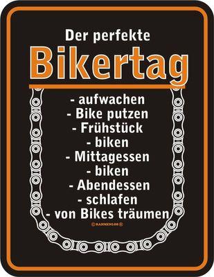 Bikershirt Unisex - Fatal Rose - T-Shirt im Geschenk-Set mit Blechschild Bild 3