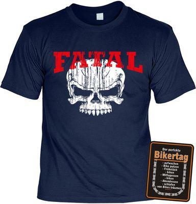 Bikershirt Unisex - Fatal Skull - T-Shirt im Geschenk-Set mit Blechschild