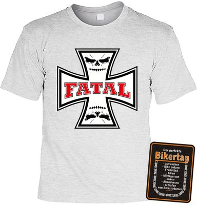 Bikershirt Unisex - Fatal - T-Shirt im Geschenk-Set mit Blechschild