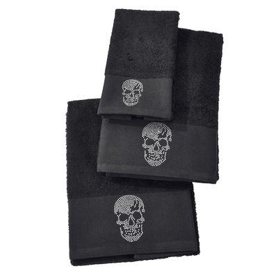 Handtuch Sortiment Black-Line - Exklusiv Frottee-Set 100% Baumwolle - 5 Motive mit Strass-Steinen - schwarz oder grau – Bild 6