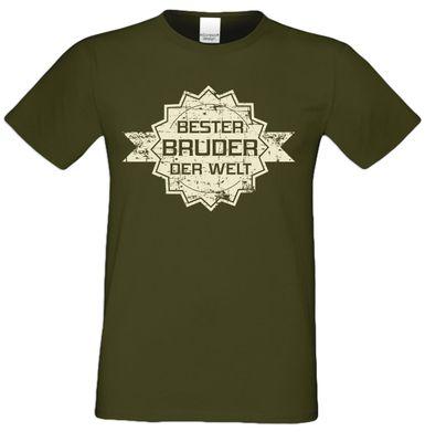 T-Shirt für Herren zu Weihnachten - B e s t e r Bruder der Welt Stern - Geschenk-Set mit lustiger Urkunde