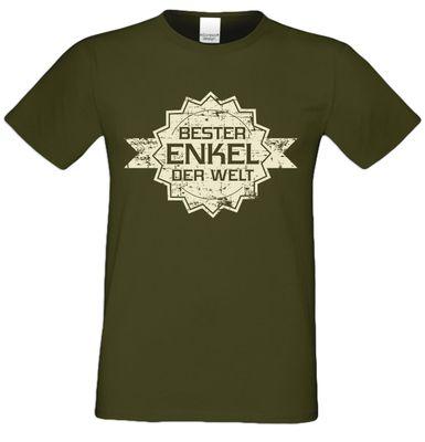 T-Shirt für Herren zu Weihnachten - B e s t e r Enkel der Welt Stern - Geschenk-Idee für Lieblingsenkel