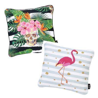 Dekokissen Print - Zierkissen Motive Flamingo / Summer Skull zur Auswahl - Größe 45x45 cm - Inkl. Füllkissen – Bild 1