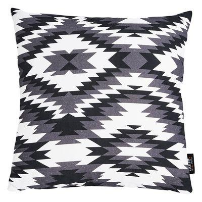 Dekokissen Print mit Ornamentmuster Barcelona schwarz / weiß - Zierkissen 45x45 - Inkl. Füllkissen, Reißverschluss – Bild 1