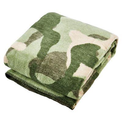 Wohndecke Camouflage mit gekettelter Ziernaht - Kuscheldecke khaki Army-Style - 150x200 cm / 30°C waschbar