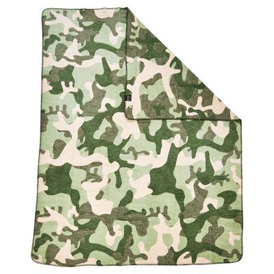 Wohndecke Camouflage mit gekettelter Ziernaht - Kuscheldecke khaki Army-Style - 150x200 cm / 30°C waschbar – Bild 3