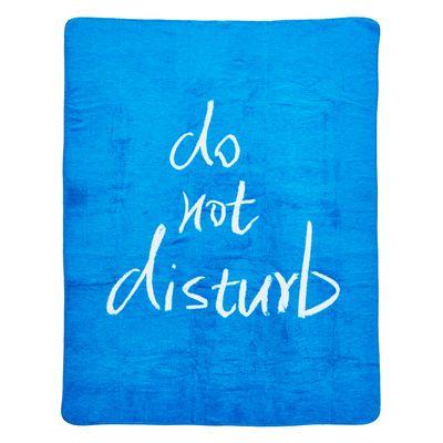 """Wohndecke Eliza mit gekettelter Ziernaht - Kuscheldecke Farbe blau - Schriftzug, """"Do Not Disturb"""" - 150x200 cm / 30°C waschbar – Bild 2"""