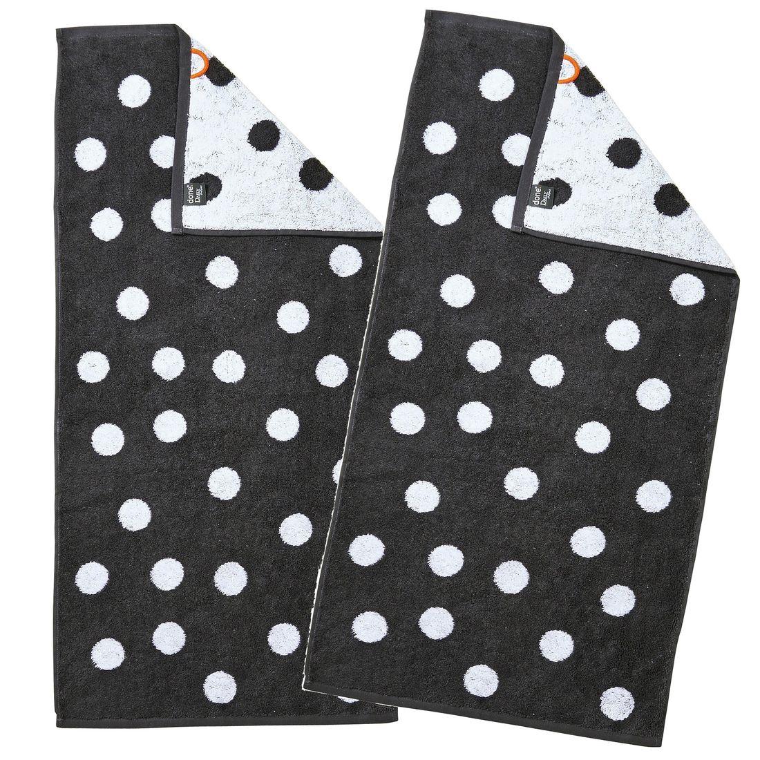 739f1b9d65 Handtücher Daily-Shapes-Dots im Doppelpack - Frottee-Tuch mit Punkten -  100% Baumwolle - Schwarz, Anthrazit, Grau / Weiß
