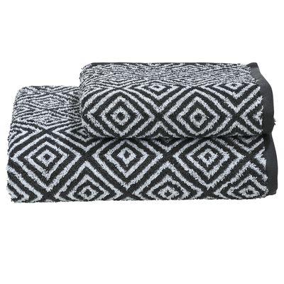 Handtuch und Duschtuch Daily-Shapes-Diamond im Doppelpack - 2er Set Frottee-Tücher gemustert - 100% Baumwolle - Schwarz, Anthrazit, Grau / Weiß