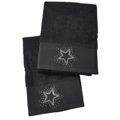 Gästehandtuch Doppelpack Black-Line Stone - 5 Motive mit Strass-Steinen in schwarz oder silber - Exklusives Frottee Set 100% Baumwolle – Bild 4