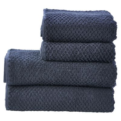 Handtuch 4er Set Provence Honeycomb mit Fransen - 2 Handtücher 2 Duschtücher Frottee - 100% Baumwolle 001