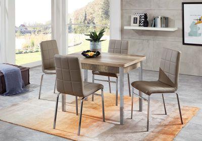 Tischgruppe Lavim - Vierfußtisch ausziehbar Monument Oak Dekor und 4 Stühle - Bezug Kunstleder Sandbraun