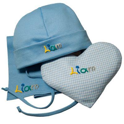 Geschenkeset zur Geburt oder Taufe - Baby-Mütze Wärmekissen Halstuch mit Namen - 4 Farben für Mädchen und Jungen