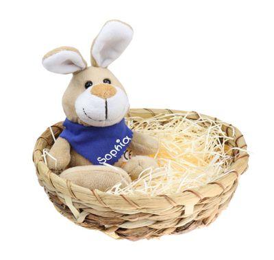 Osternest mit Plüschhase - Osterhase mit Name am Halstuch - Ostergeschenk in 3 Farben - Osterkorb aus Wasserhyazinthe
