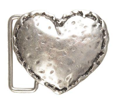 Gürtelschnalle mit Relief - Silbernes Herz - Wechselschliesse in edlem Design als besonderes Geschenk