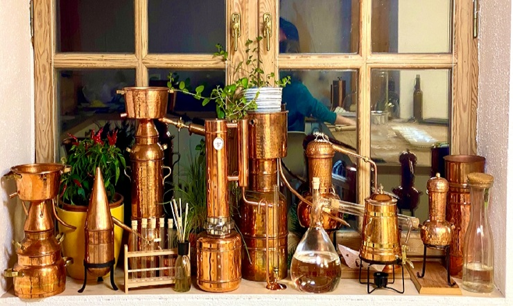 distilling water, hydrosols, essential oils and alcohol