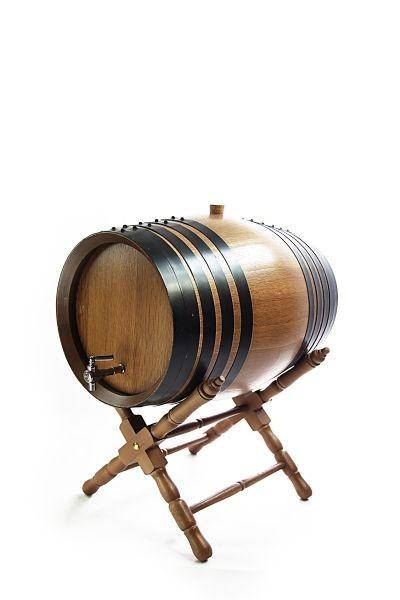 Holzfass mit Ständer 4 L, dunkel, Eiche gekohlt