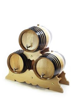 Set: 3 Wooden Barrels with stand à 16 L, toasted white American Oak