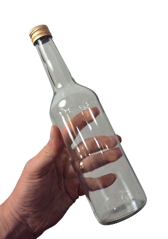 Spirituosenflasche, 0,35L Klarglas inkl. Schraubdeckel - Hydrolat- und Schnapsflasche