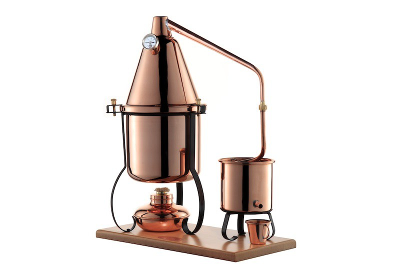 CopperGarden® Italia 2.5 litre distillation still – with alcohol burner, aroma basket and thermometer