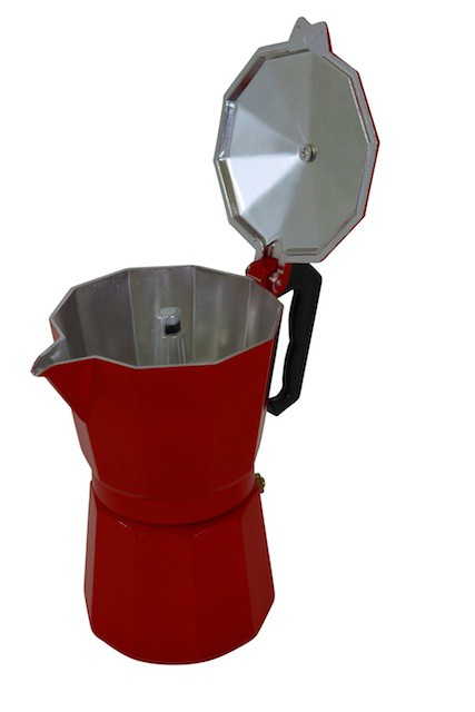 Krueger  Moka Pot, 3-cup espresso maker, red