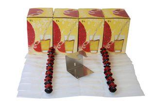 Kit de 20 bolsas de Bag in Box (5L), 4 cartones y un soporte