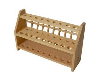 Soporte de madera para tubos de ensayo - especialmente estable para 27 (18 +9) tubos de ensayo
