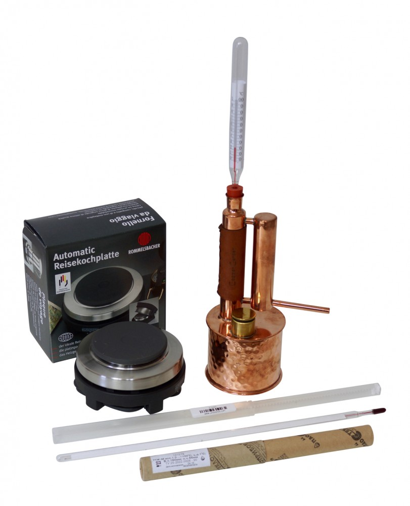 CopperGarden®   Easy Moonshine  Distilling Apparatus 0.5 L electric, 500 Watts & Thermometer