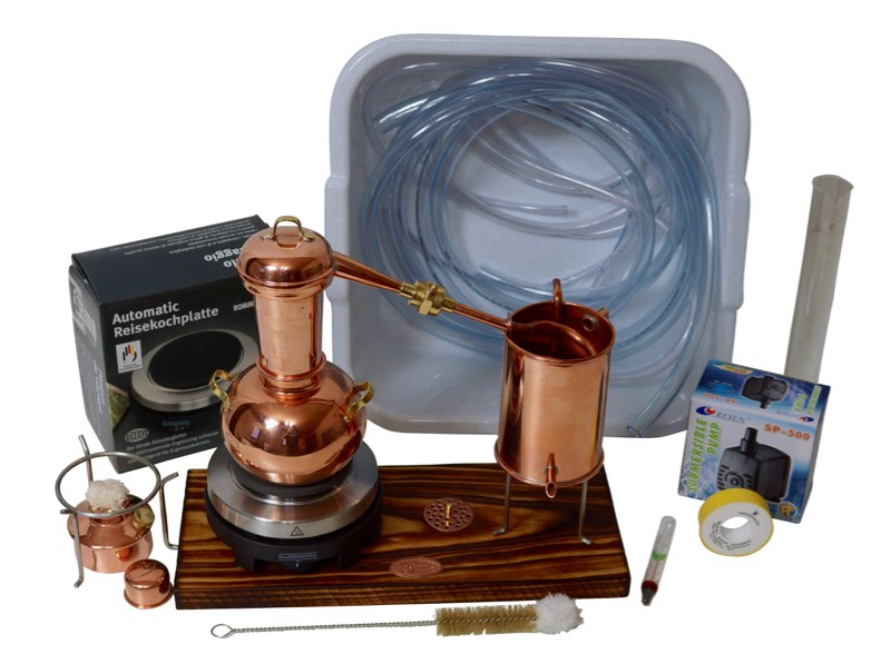 CopperGarden® Electric Table-top still Arabia 0.5 L Supreme & Water pump accessory set