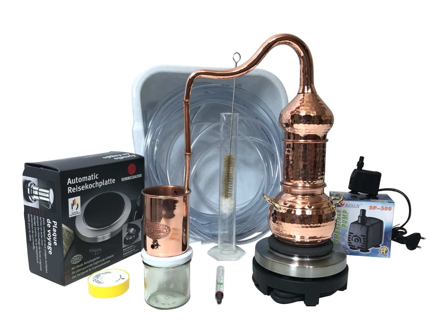 CopperGarden®  Column still 0.5L electric 500W with water pump accessory Set