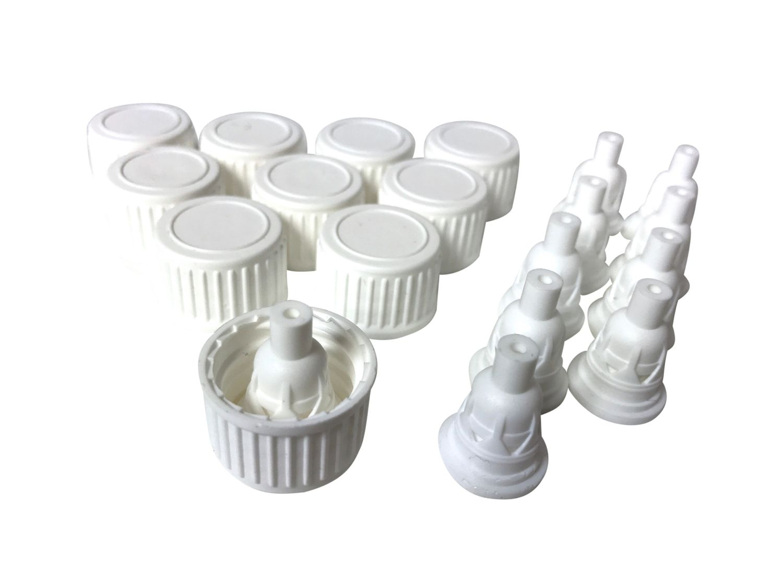 10 x  Deckel mit Tropfgarnitur, weiß, für Flaschen mit DIN18 Gewinde