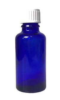 Blauglas-Flasche 30 ml mit DIN18 Gewinde & Deckel