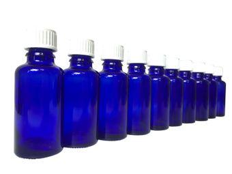 10 x Blauglas Flasche je 30 ml mit DIN18 Gewinde & Deckel