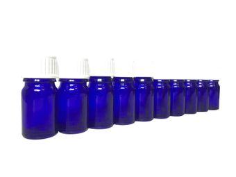 Set: 10x Cobalt Blue Glass Bottles 5 ml with lids