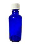 Flacon en verre bleu 50 ml, filetage DIN 18 et bouchon