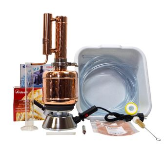 """CopperGarden®"" "" Easy Moonshine"" distilling apparatus 2 L SET with water pump & hotplate"