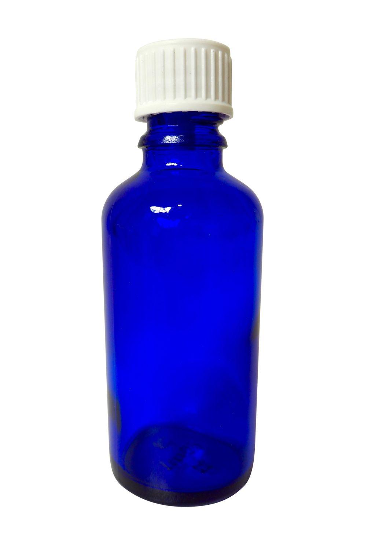 Flacon en verre bleu 100 ml, filetage DIN 18 et bouchon