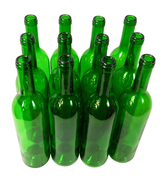 12 x Weinflasche  Bordeaux  ❀ 0,75 Liter ❀ grün