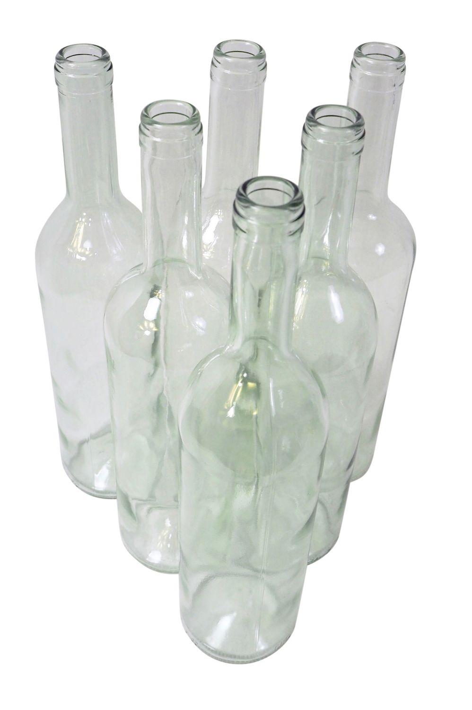 6 x Weinflasche Bordeaux ❀ 0,75 Liter ❀ Klarglas Flasche für Most, Saft & Wein