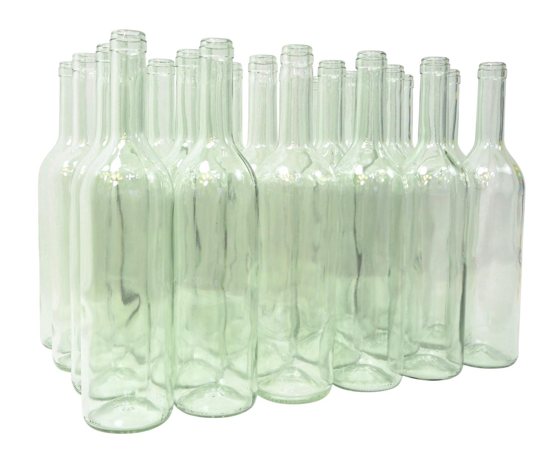 24 x Weinflaschen Bordeaux ❀ 0,75 Liter ❀ Klarglas ❀ Flasche für Wein und Saft