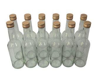 12 x Spirituosenflasche ❀ 0,35 Liter ❀ Klarglas inkl. Schraubdeckel