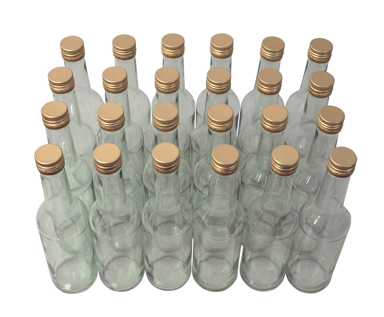 24 x Spirituosenflasche ❀ 0,35 Liter ❀ Klarglas inkl. Schraubdeckel
