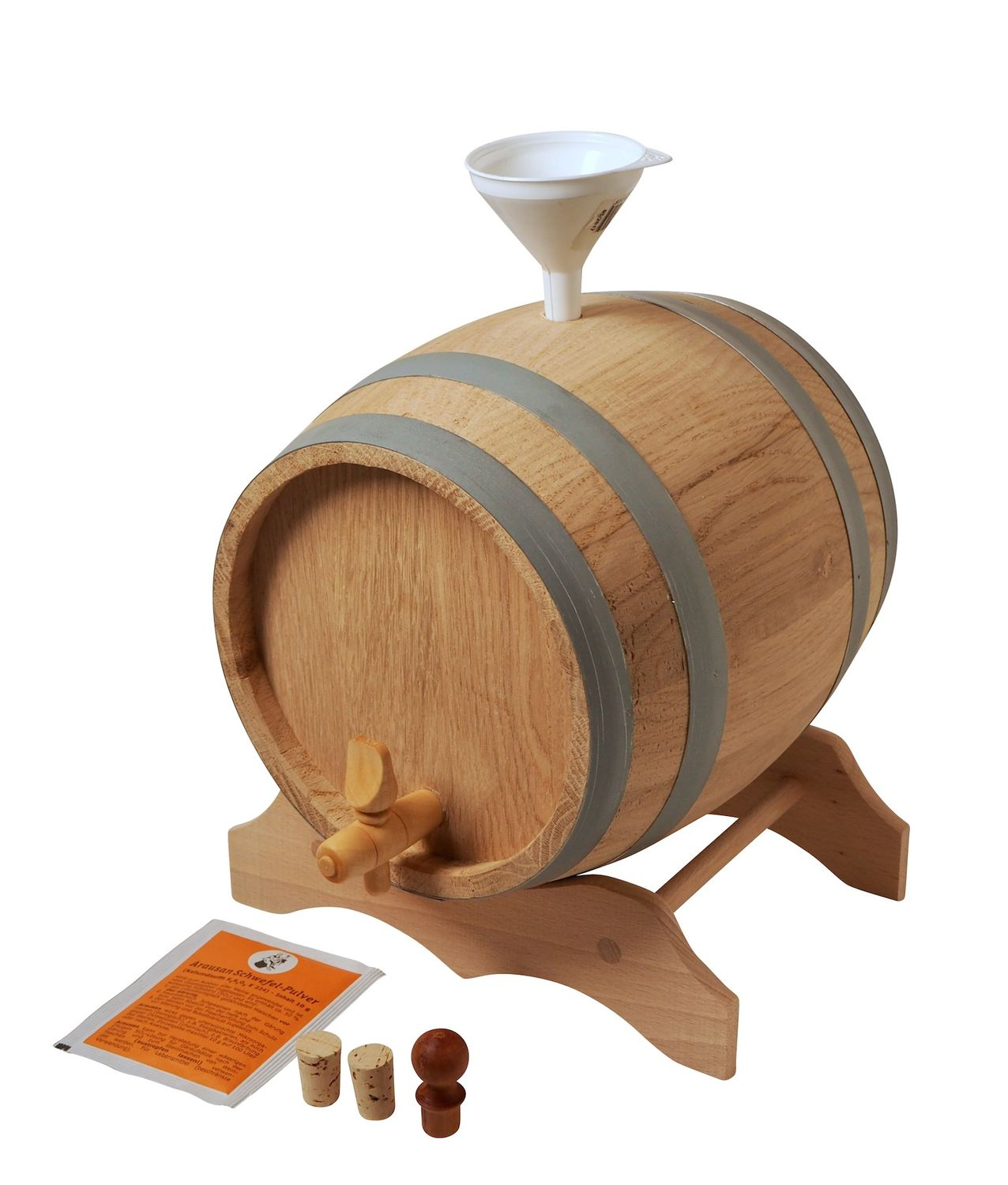 2 L Barrel with wooden stand in a set, European oak wood