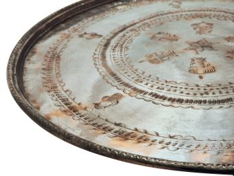 Antique Copper Serving Tray XL = 61 - 72 cm diameter