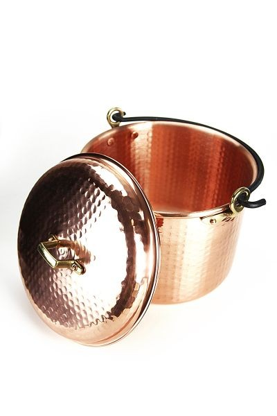 CopperGarden®  copper pot 12 liters, hammered with handle