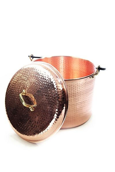 CopperGarden®  copper pot 18 liters hammered with lid