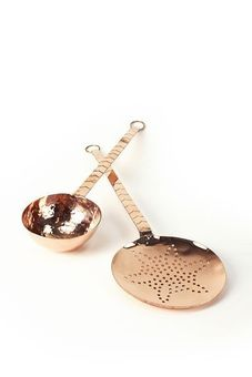 "SET: ""CopperGarden®"" Ladle & Strainer Scoop, 34 cm with long handle"
