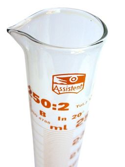 """Hecht ASSISTENT"" Messzylinder 250 ml - hochwertiges AR-Laborglas"