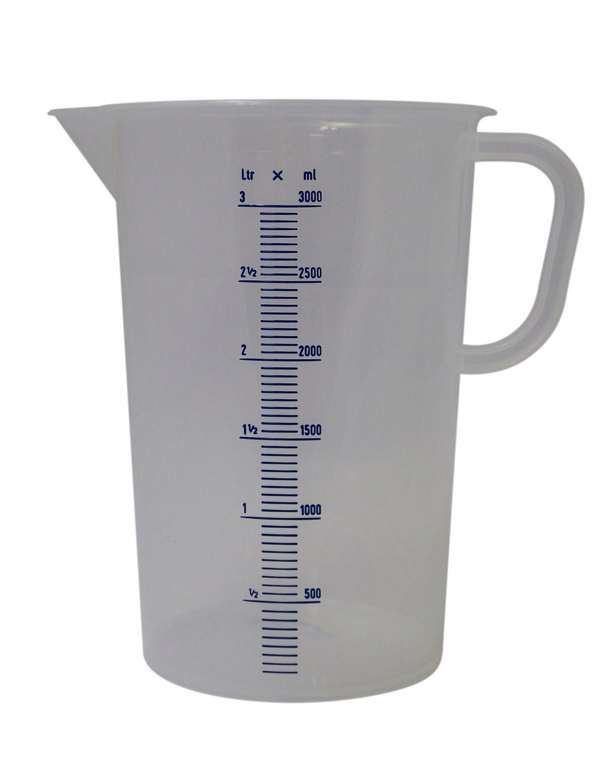 Hecht Assistent Messbecher ❀ 3 Liter ❀ deutsche Laborqualität ❀ gut ablesbar