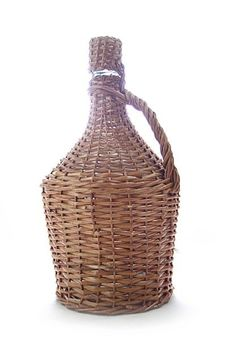 """""""Arauner"""" Demijohn / glass carboy with wicker basket, 5 liters with cork stopper"""